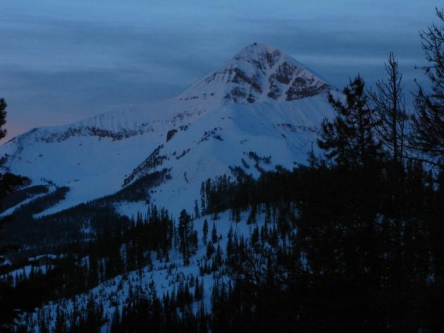 Lone Peak (Big Sky ski area) during sunrise