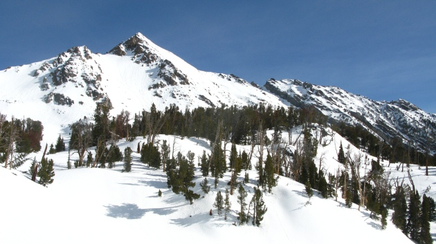 Gallatin Peak after dropping into Hellroaring Creek