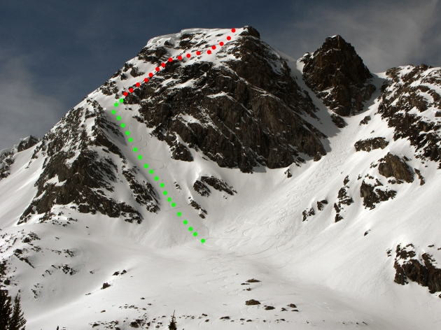 Black Mountain North Face Direct route, we climbed and skied the green line the red line is the full route