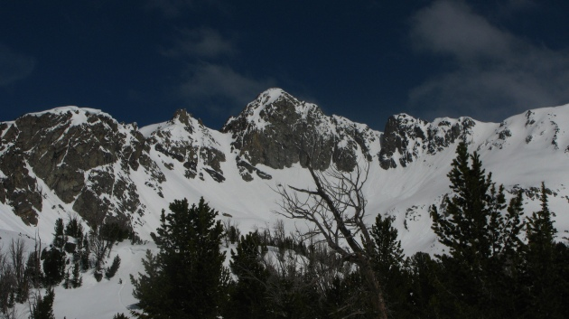 The sheer south face of Beehive Peak, the Hanging Garden is off the backside