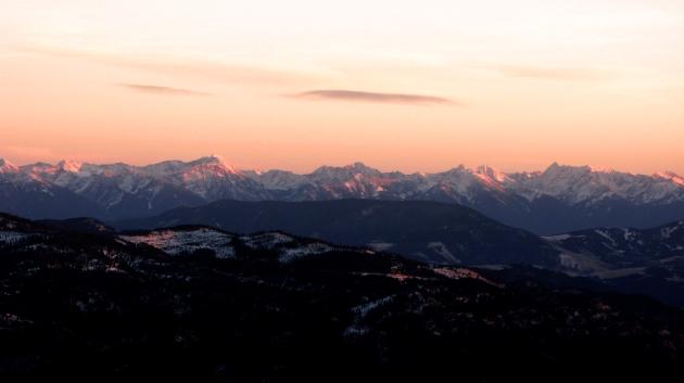 Alpenglow on the Absaroka Mountains