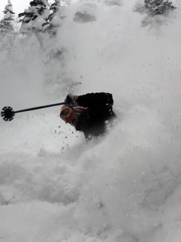 Aspen pow day. Skier Jon Jay
