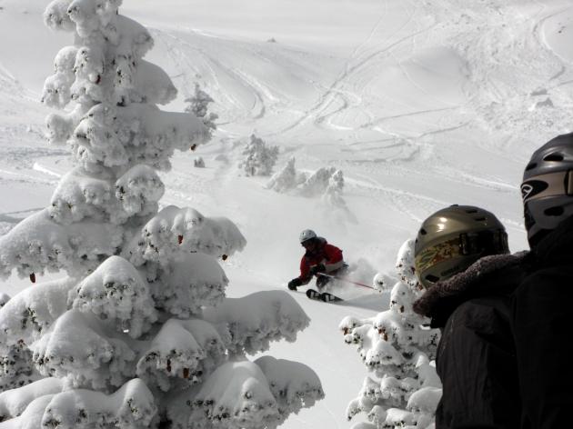 Steve Geiger powder skiing on Saddle Peak