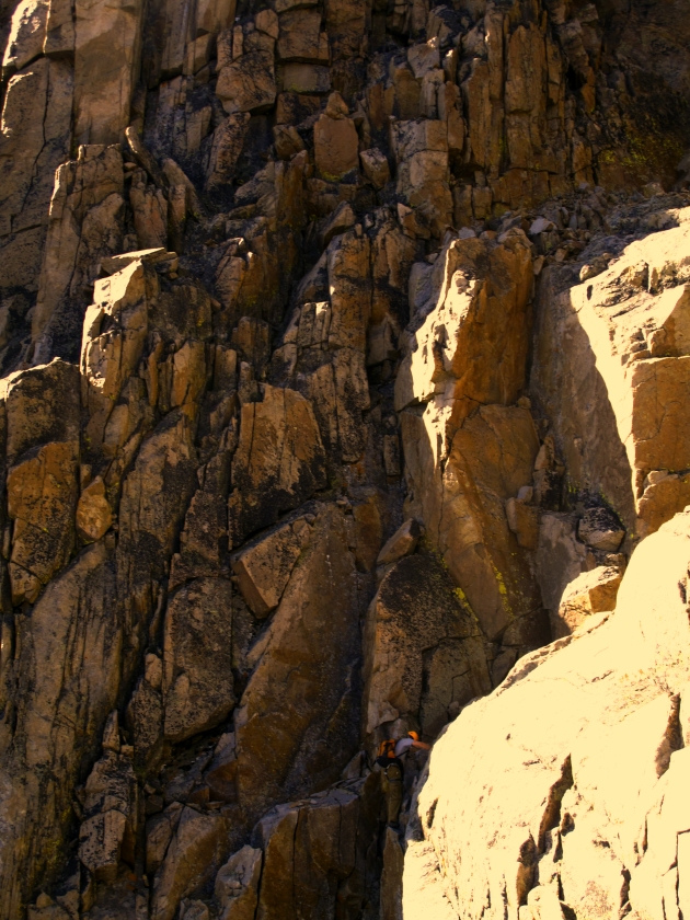Our leader and route finder, Rob, free climbs a section on Granite Peak