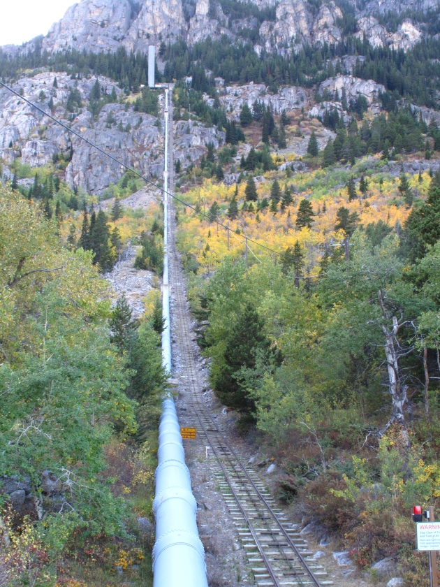 The pipeline drops down to a turbine at the trailhead.  Pretty impressive feat for the 1920s, especially the tram that runs all the way to Mystic Lake.