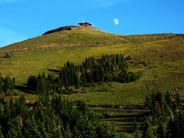 Moonrise on Mt. Washburn.  You can see the fire lookout on the summit.  One of only two in the park that are still staffed.