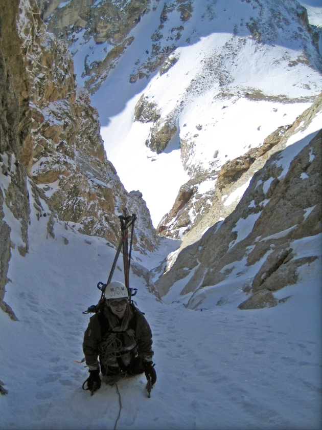 Climbing the Stettner Couloir after a scary fall.  Photo: Patrick Lawrence