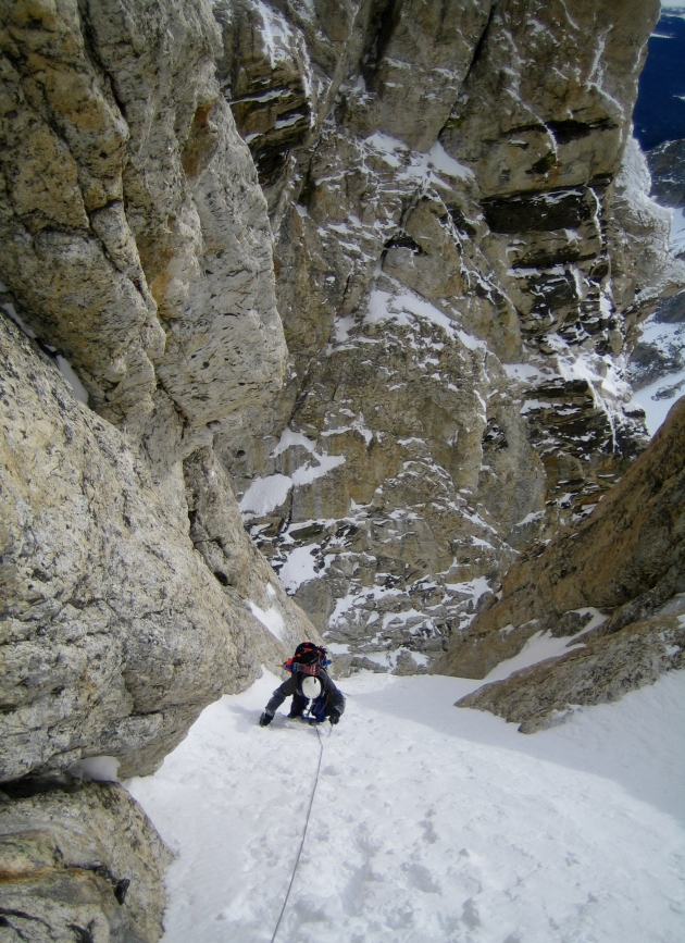 Climbing the Stettner Couloir.  Photo: Patrick Lawrence