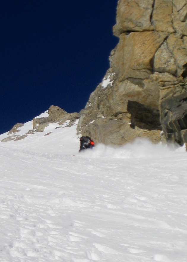 Don't fall, don't fall, don't fall.... skiing the Ford Couloir. Photo: Patrick Lawrence
