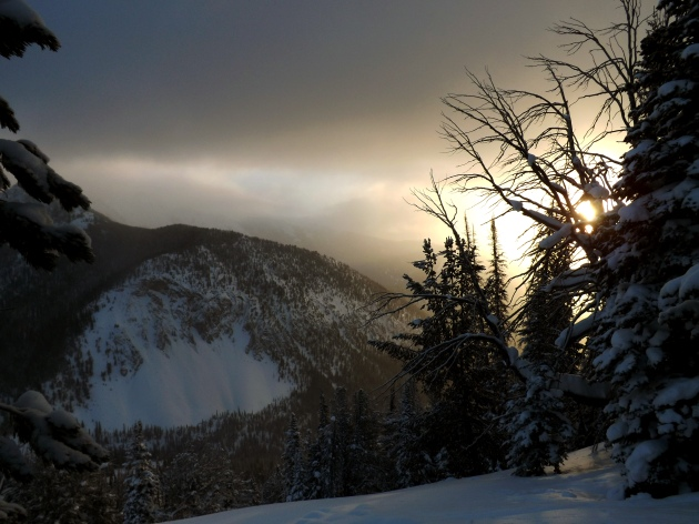 Sunrise in Middle Basin above Big Sky