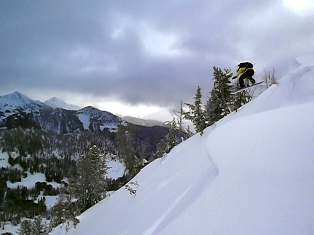 Patrick Lawrence airing a cornice in Middle Basin